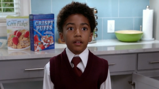 """Youngest son Jack (Miles Brown) learns that he's about to get spanked on the """"Crime and Punishment"""" episode of Black-ish.ABC STUDIOSSCREENSHOT"""