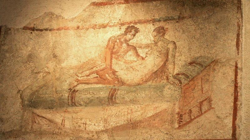 Illustration for article titled Fresco Exhibit Pairs Naked Modern People with Naked Ancient People