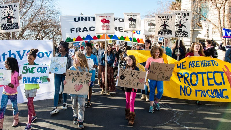 Youth plaintiffs and supporters rallying in Denver on Feb. 20, 2017.