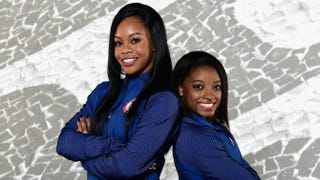 Gymnasts Gabby Douglas and Simone Biles pose for a portrait during the U.S. Olympic Committee Rio de Janeiro Olympics shoot in Los Angeles on Nov. 20, 2015.Harry How/Getty Images
