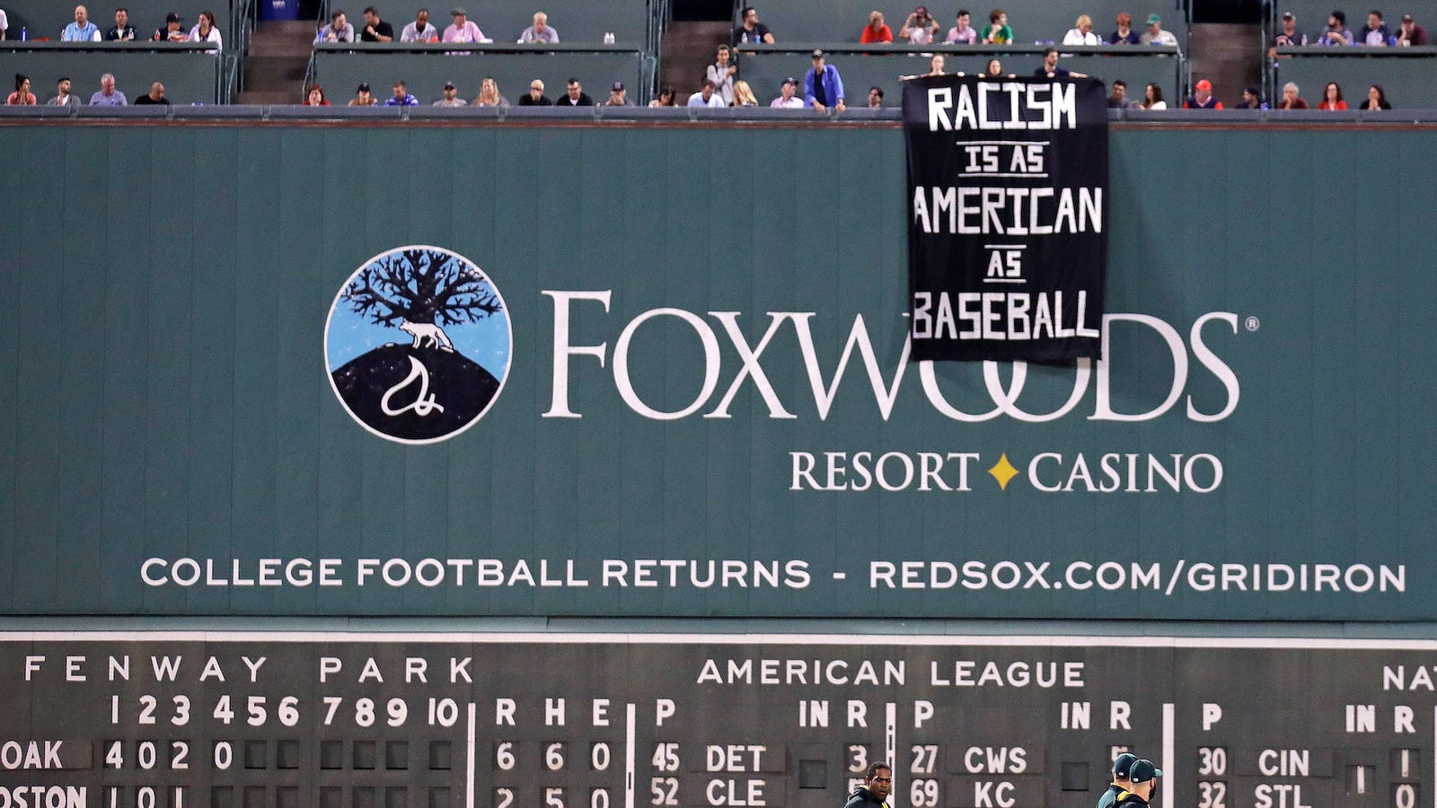 "Red Sox Security Remove ""Racism Is As American As Baseball"" Banner Unfurled Over Green Monster"