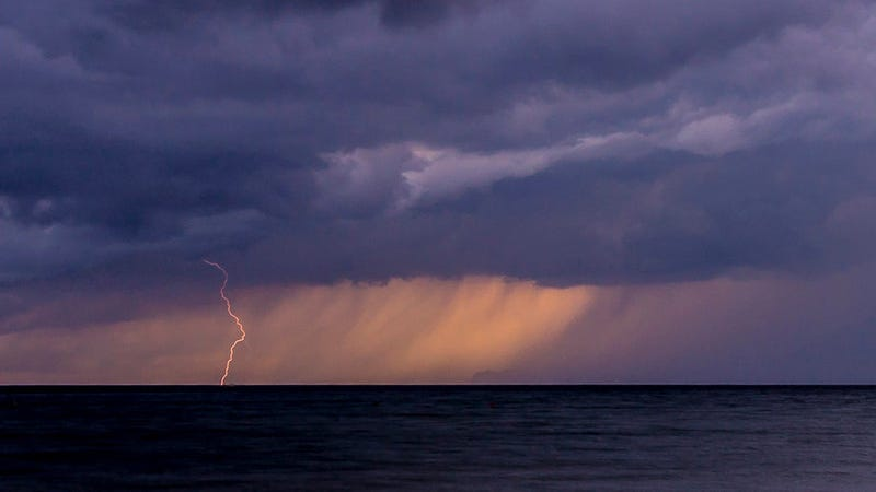 A storm over the water in Spain.