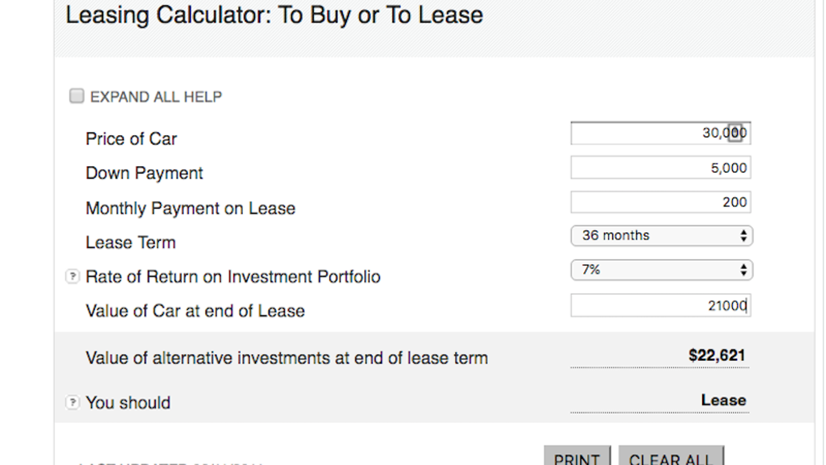 Find the Opportunity Cost of Buying a Car With This Buy or Lease ...