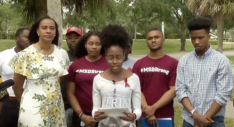 Black students from Marjory Stoneman Douglas High School in Parkland, Fla., host a press conference March 28, 2018, to address their concerns about media coverage and safety measures following the deadly mass shooting at their school.