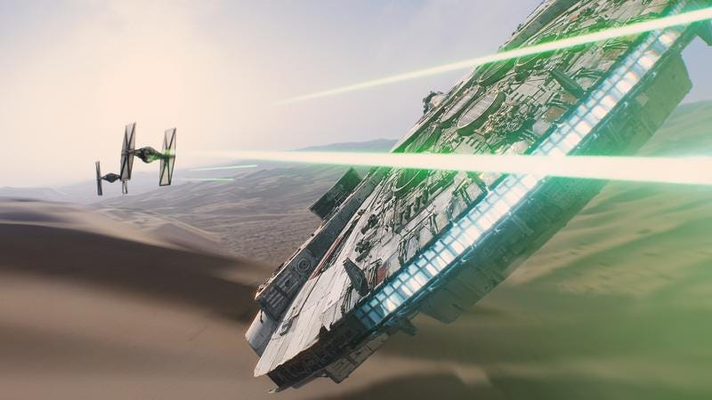 The return of the Millennium Falcon—one of the more obvious things to look forward to in Star Wars: The Force Awakens.