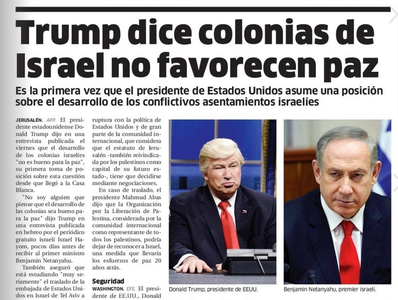 "Screenshot of Friday's edition of the Dominican newspaper El Nacional showing ""Donald Trump"", who is in fact, Alec Baldwin playing Donald Trump on SNL"