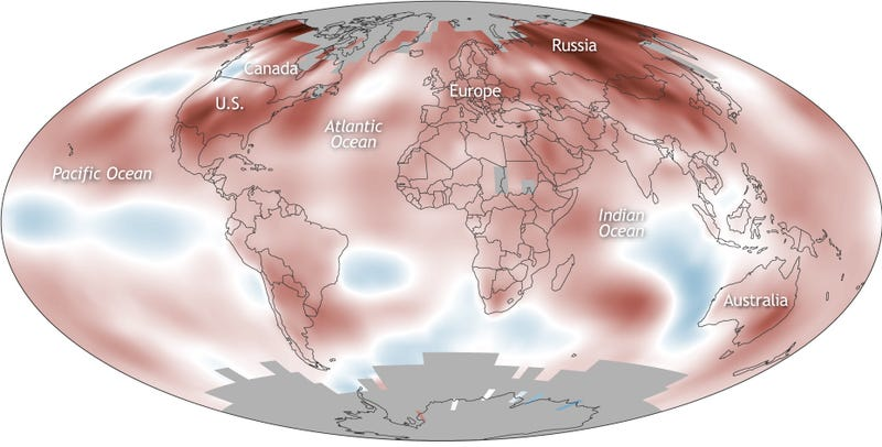 A map showing how temperature departed from average around the globe in 2017. Red means warmer than normal. Omg.
