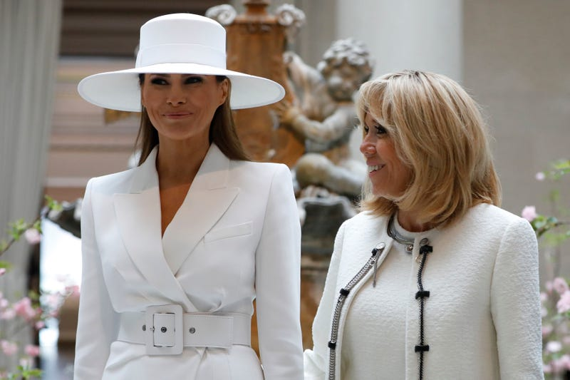 First lady Melania Trump and French first lady Brigitte Macron tour the National Gallery of Art on April 24, 2018, in Washington, D.C. President Donald Trump is hosting French President Emmanuel Macron for the first state visit of his presidency.