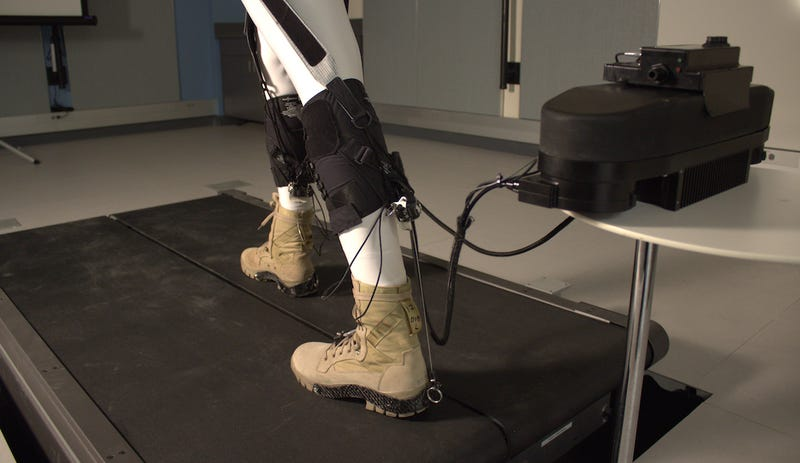 Robotic ankles attached to a robotic exosuit. IMAGE: Harvard Biodesign Lab
