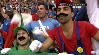 Illustration for article titled When You Have the Mario Bros. for Fans, You Cannot Lose at Euro Soccer