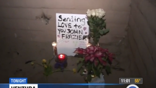 A makeshift memorial left at the scene where 58-year-old John Frazier was attacked Jan. 17, 2015ABC 7 Los Angeles screenshot