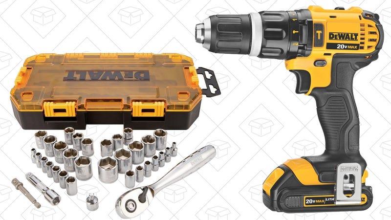 DEWALT 20V Lithium Hammer Drill/Driver + 34-Piece Socket Set, $153