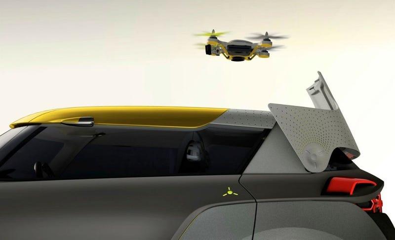 Illustration for article titled Este nuevo concepto de coche viene con dron explorador incorporado