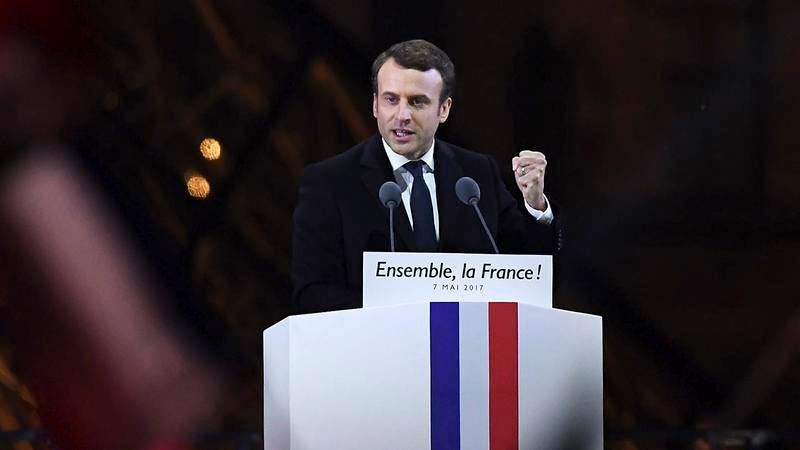 Emmanuel Macron giving a speech.