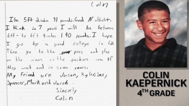 Colin Kaepernick Wrote A Letter To Himself In Fourth Grade