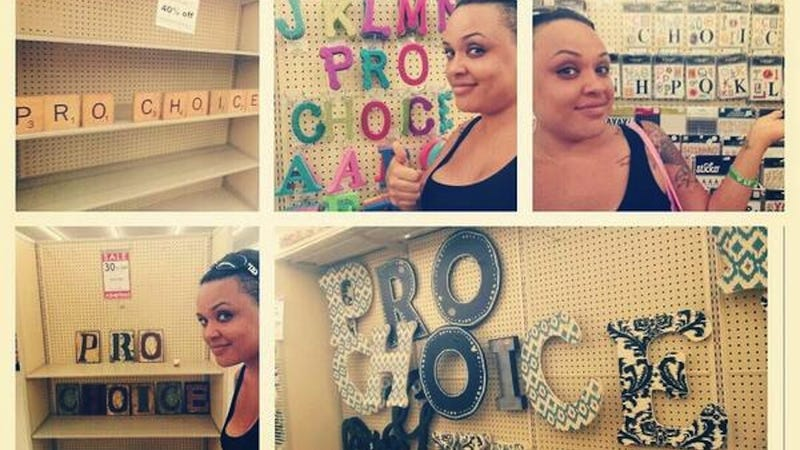 Illustration for article titled Fun Craft Idea: Pro-Choice Trolling in Hobby Lobby Aisles