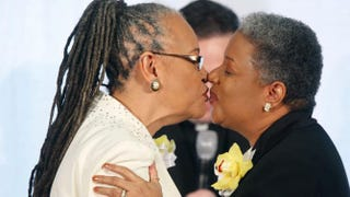 Darlene Garner and Candy Holmes, both reverends of Metropolitan Community Churches, exchanged a kiss during their wedding ceremony on the first day same-sex couples were allowed to legally wed in Washington, D.C., March 9, 2010.Alex Wong/Getty Images