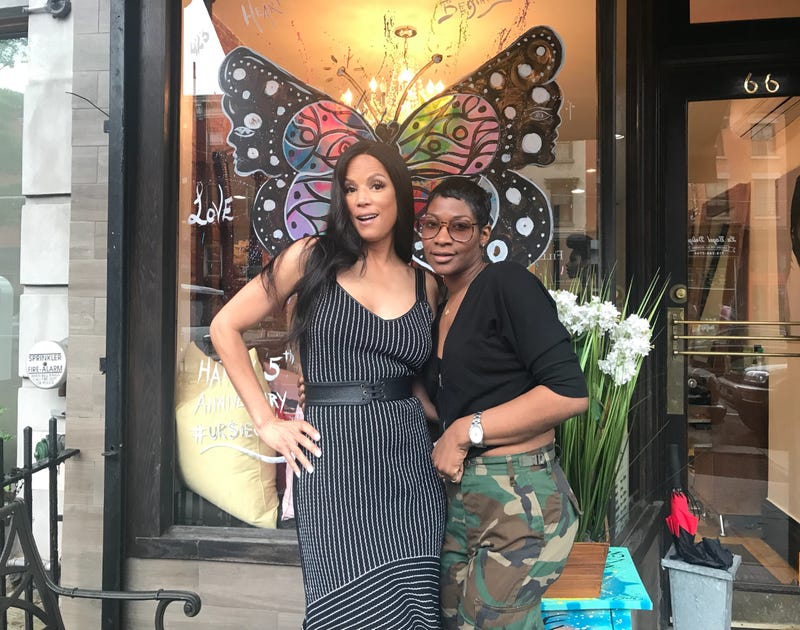 Veronica Webb and Ursula Stephen in front of Stephen's salon in Brooklyn, N.Y.