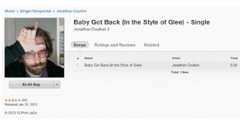 Illustration for article titled Jonathan Coulton gets back at Glee by posting his own cover of Glee's cover of his song