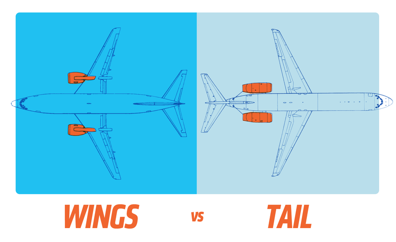 Illustration for article titled Here's Why Airplanes Have Engines On The Wings Or On The Tail