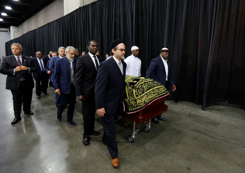 The casket of Muhammad Ali arrives for the Jenazah, or Muslim funeral prayer service, at the Kentucky Exposition Center on June 9, 2016, in Louisville, Ky. A funeral procession and interfaith memorial service are scheduled for June 10, 2016. Volkan Furuncu/Anadolu Agency/Getty Images)