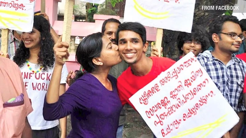 Illustration for article titled Indians Are Protesting with #kissoflove to Kiss in Public