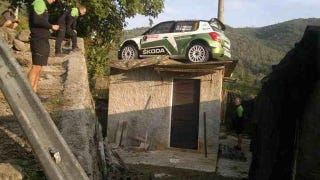 Illustration for article titled Rally Car Crashes Onto Someone's Roof