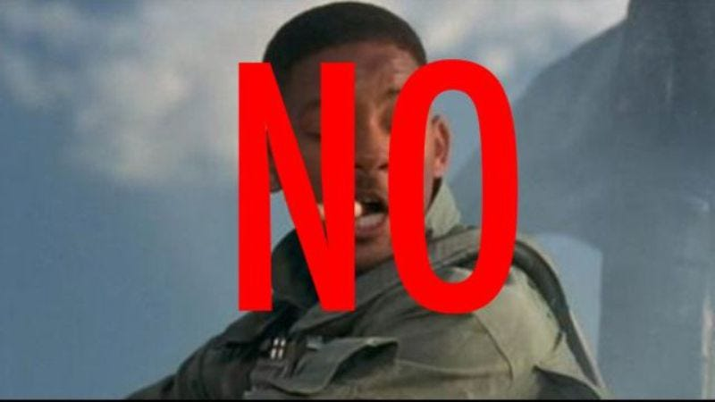 Illustration for article titled Will Smith won't be welcoming anyone to anything in the Independence Day sequel