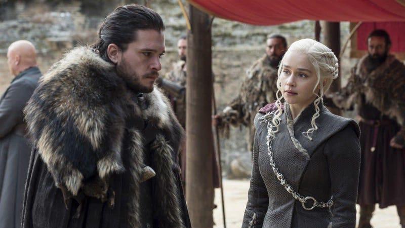 Jon Snow and Daenerys Targaryen at the Dragonpit in season seven.