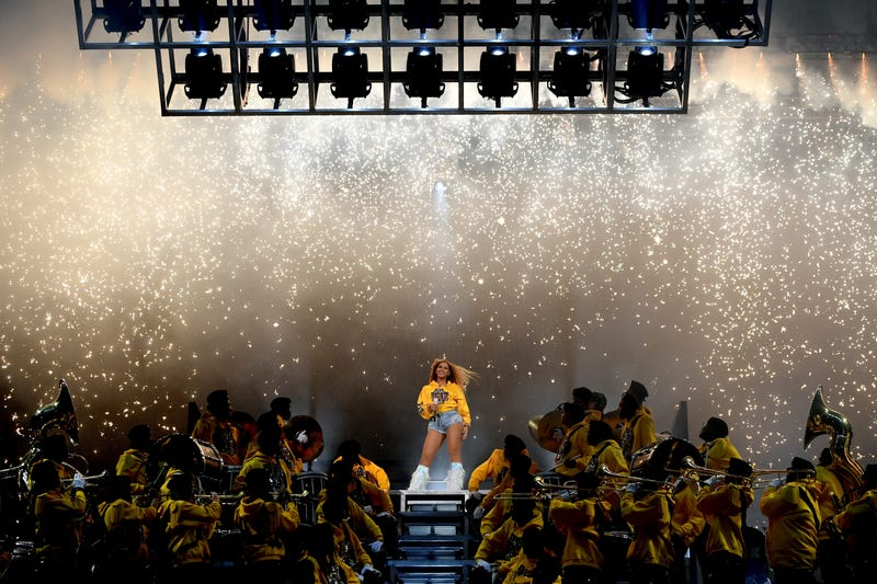Beyoncé performs onstage during the Coachella music festival in Indio, Calif., on April 14, 2018.