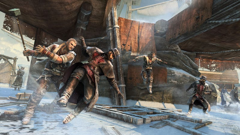 Illustration for article titled Assassin's Creed III Lets You Smash Tophat-Wearing Gentlemen With Giant Hammers