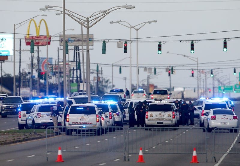 East Baton Rouge, La., police officers patrol Airline Highway after three police officers were killed early July 17, 2016, in Baton Rouge.Sean Gardner/Getty Images