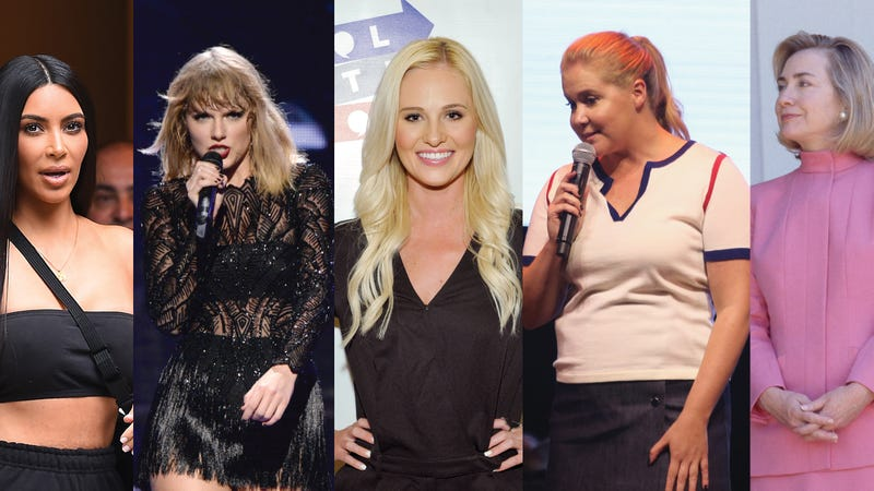 Kim Kardashian West (Josiah Kamau/Getty Images); Taylor Swift (Kevin Mazur/Getty Images); Tomi Lahren (John Scillia/Getty Images); Amy Schumer (Robin Marchant/Getty Images); Hillary Clinton (Disney)