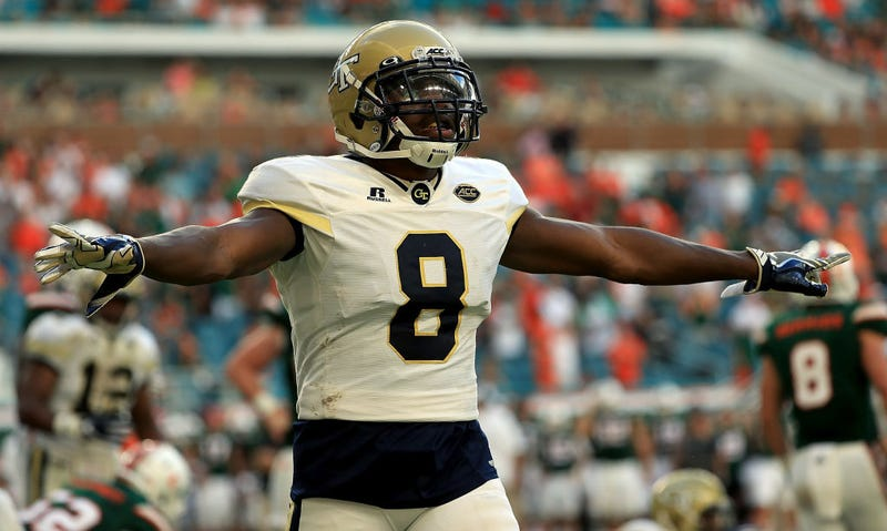 Step Durham of the Georgia Tech Yellow Jackets reacts to a play during a game against the Miami Hurricanes at Sun Life Stadium on Oct. 14, 2017, in Miami Gardens, Fla. (Mike Ehrmann/Getty Images)