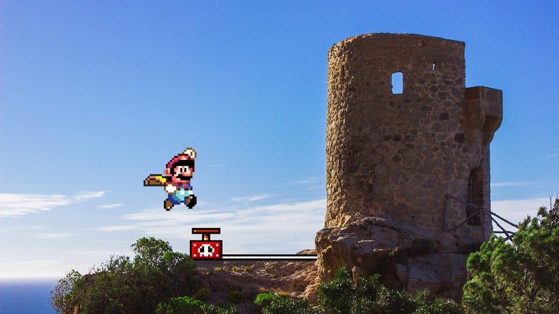 Illustration for article titled Mezclar fotos reales y videojuegos de 16 bits es puro ingenio