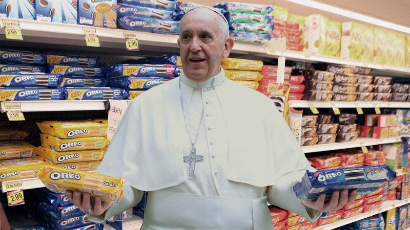 Illustration for article titled Pope Francis Reverses Position On Capitalism After Seeing Wide Variety Of American Oreos