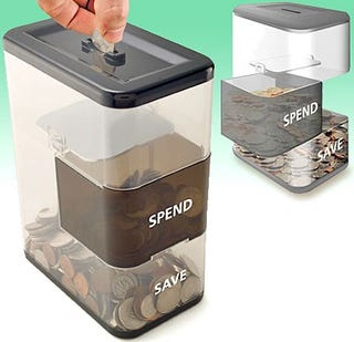 Illustration for article titled Trick Yourself Into Saving Money With the Spend/Save Coin Bank
