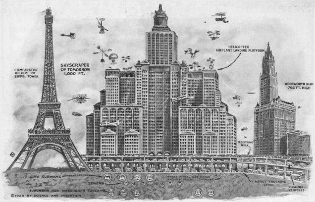 The Futuristic Skyscrapers of 1923 Were Supposed to Solve Traffic, But Had a Notable Lack of Dwayne Johnsons