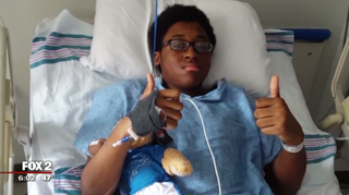 Jordan, a ninth-grader at Airport High School in Carleton, Mich., was out of surgery and recovering after getting into a fight at his  school April 26, 2016.WJBK screenshot