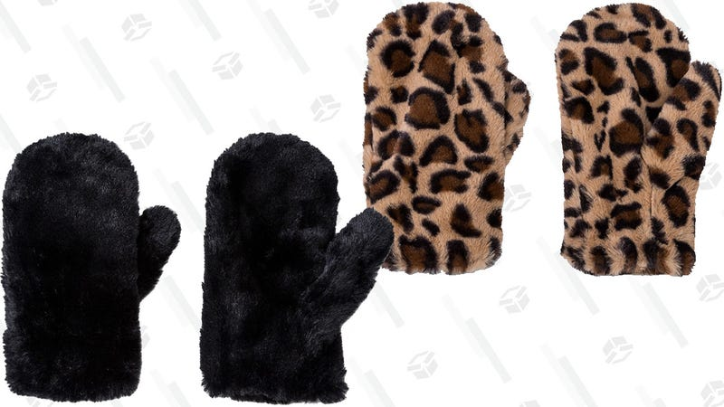 Wild Fable Women's Faux Fur Mittens in Solid or Animal Print | $7 | Target