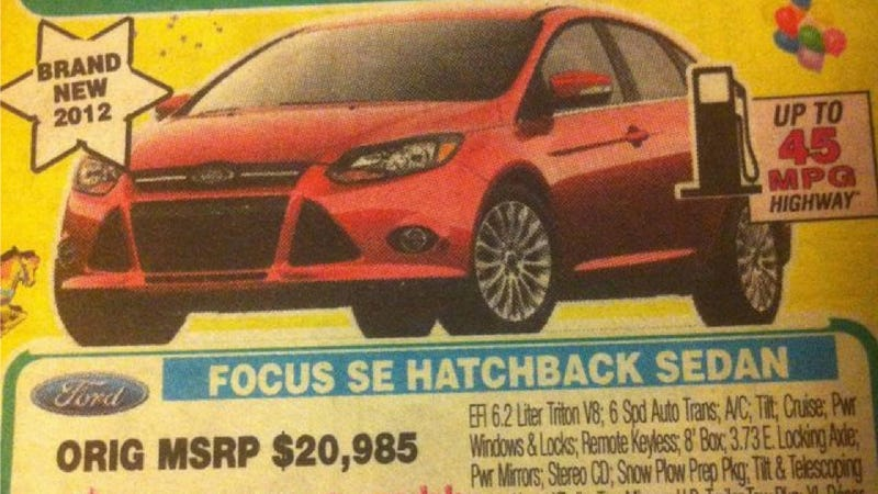 Illustration for article titled New Ford Focus With 6.2 Liter V8 Gets Up To 45 MPG And Costs Just $17,595