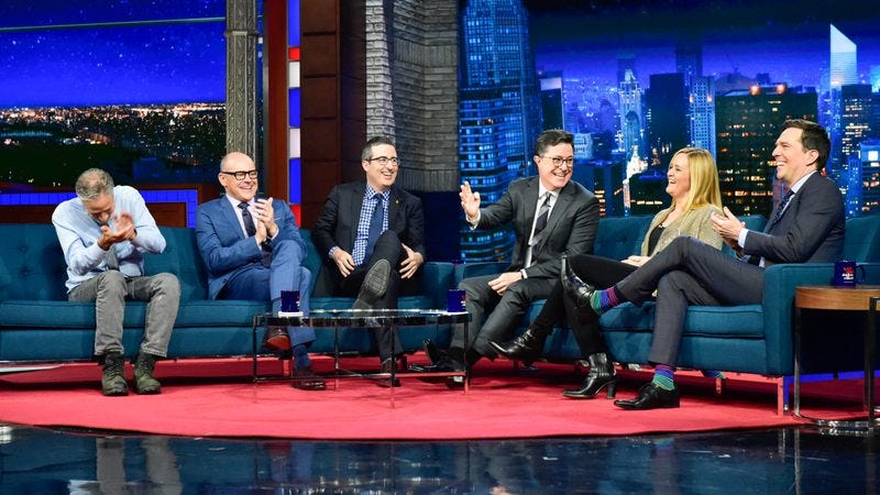 Jon Stewart, Rob Corddry, John Oliver, Stephen Colbert, Samantha Bee, Ed Helms (Photo: Scott Kowalchyk/CBS)
