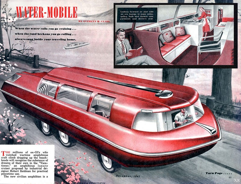 Illustration for article titled This Enormous Car-Boat Probably Needed Oceans of Oil to Run