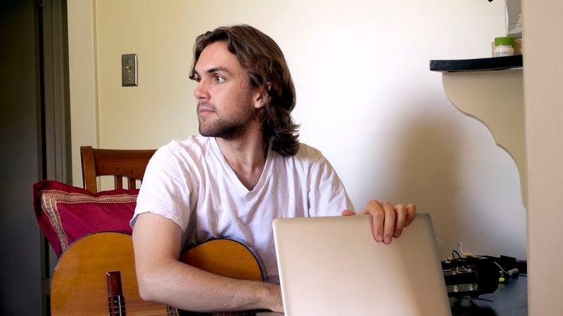 Illustration for article titled Man Checks To Make Sure No One Home Before Recording Song Into Laptop