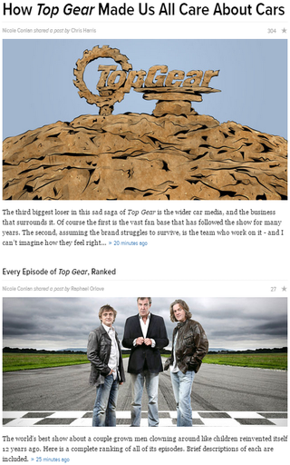 Illustration for article titled Nicole Conlan shared two TopGear posts.