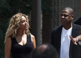 Beyoncé and Jay Z, who owns Tidal music service, attend a rally honoring Trayvon Martin on July 20, 2013, in New York City. (Getty Images)