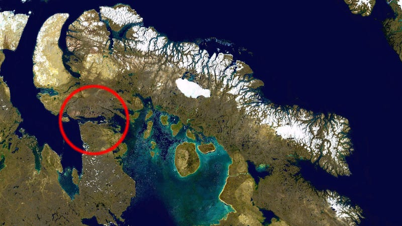 "Unexplained ""pinging"" sounds have been heard at Fury and Helca Strait in the northern territory of Nunavut. (Image: NASA)"