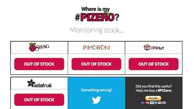 Where Is My Pi Zero? Tracks Stock of the Impossible to Find $5 Computer