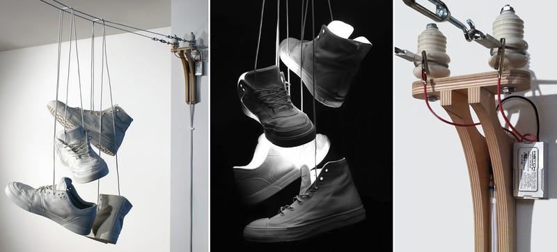 Illustration for article titled A Lamp That Looks Exactly Like Sneakers Tossed Over Power Lines