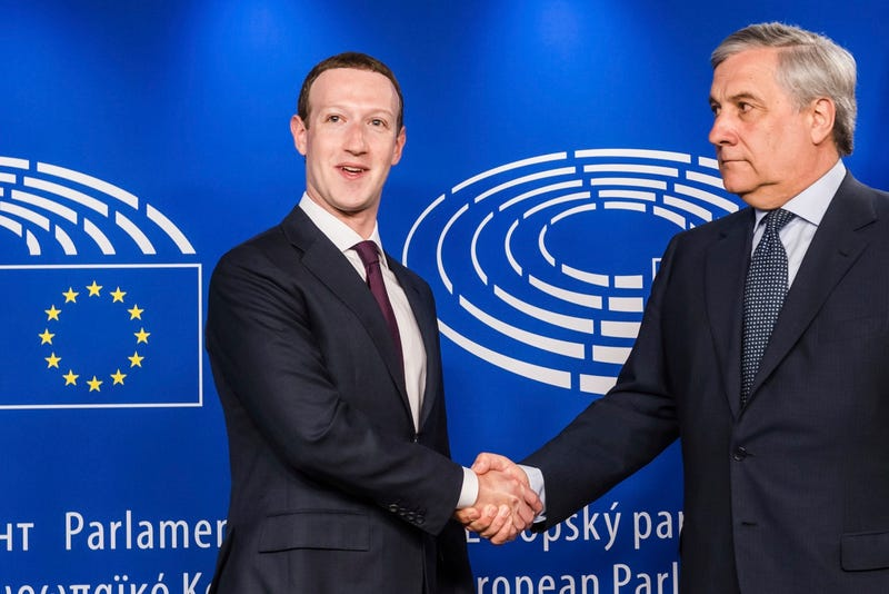 European Parliament President Antonio Tajani, right, welcomes Facebook CEO Mark Zuckerberg upon his arrival at the EU Parliament in Brussels on Tuesday, May 22, 2018.